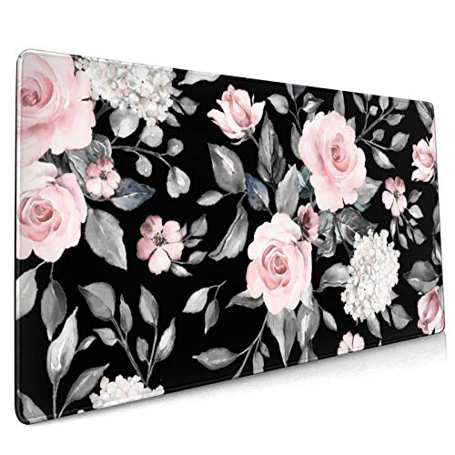 Flower Extended Moiuse Pad Pink Non-Slip Rubber Base Large Black Mouse Pad 35.4×15.7in with Stitched Edges Waterproof Peony Flowers Pads Computer Black Gaming Mousepads for Work/Game/Office/Home