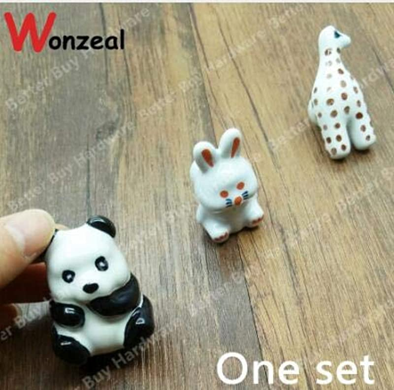 Kasuki 3pcs 3D Caramic Animal Cute Lovely Children Kids Knobs Cabinet Cupboard Drawer Handles Pulls Color One Set
