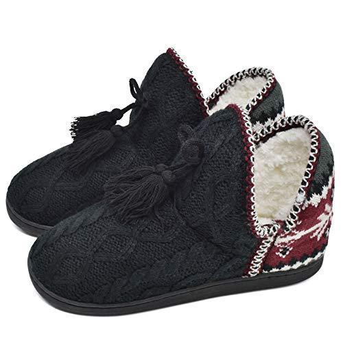 COFACE Damen kuschelige Pantofole con Pompon Caldo Maglia Pantofole Antiscivolo Suole TPR innengefuellt Scarpe da Donna in 5 Colori (EU 35/36, Twist Nero)