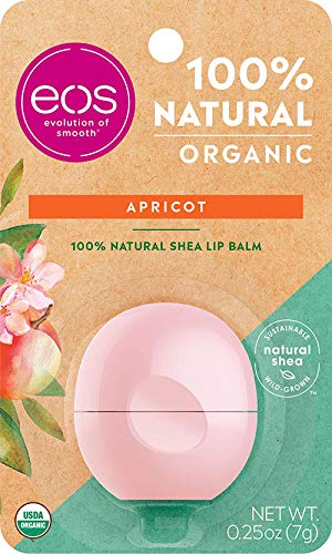 eos USDA Organic Lip Balm - Apricot | Lip Care to Nourish Dry Lips | 100% Natural and Gluten Free | Long Lasting Hydration | 0.25 oz