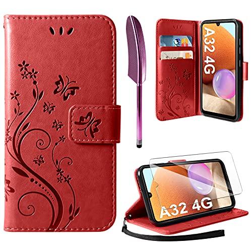 AROYI Cover Compatibile con Samsung Galaxy A32 4G, Retro Design Flip Caso in PU Pelle Premium Portafoglio Slot per Schede Chiusura Magnetica Custodia Compatibile con Samsung Galaxy A32 4G Red