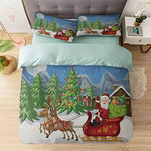 3 Pieces Duvet Cover Set, Country Landscape at Night with Trees Santa Claus Snowdrift Reindeers Mo, Printed Duvet Cover Set with Ultra-Soft Microfiber, Multicolor