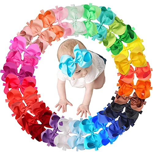 30 Colors Baby Girls Headbands 6Inch Big Hair Bows Elastic Hair Bands Headbands Hair Accessories for Newborns Infants Toddlers Kids