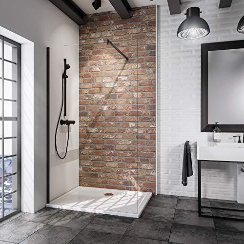 Schulte D369106-F 68 500 Paroi de douche fixe à l'italienne, Walk In Black Style, verre transparent, profilé à clipser noir, 90 x 190 cm