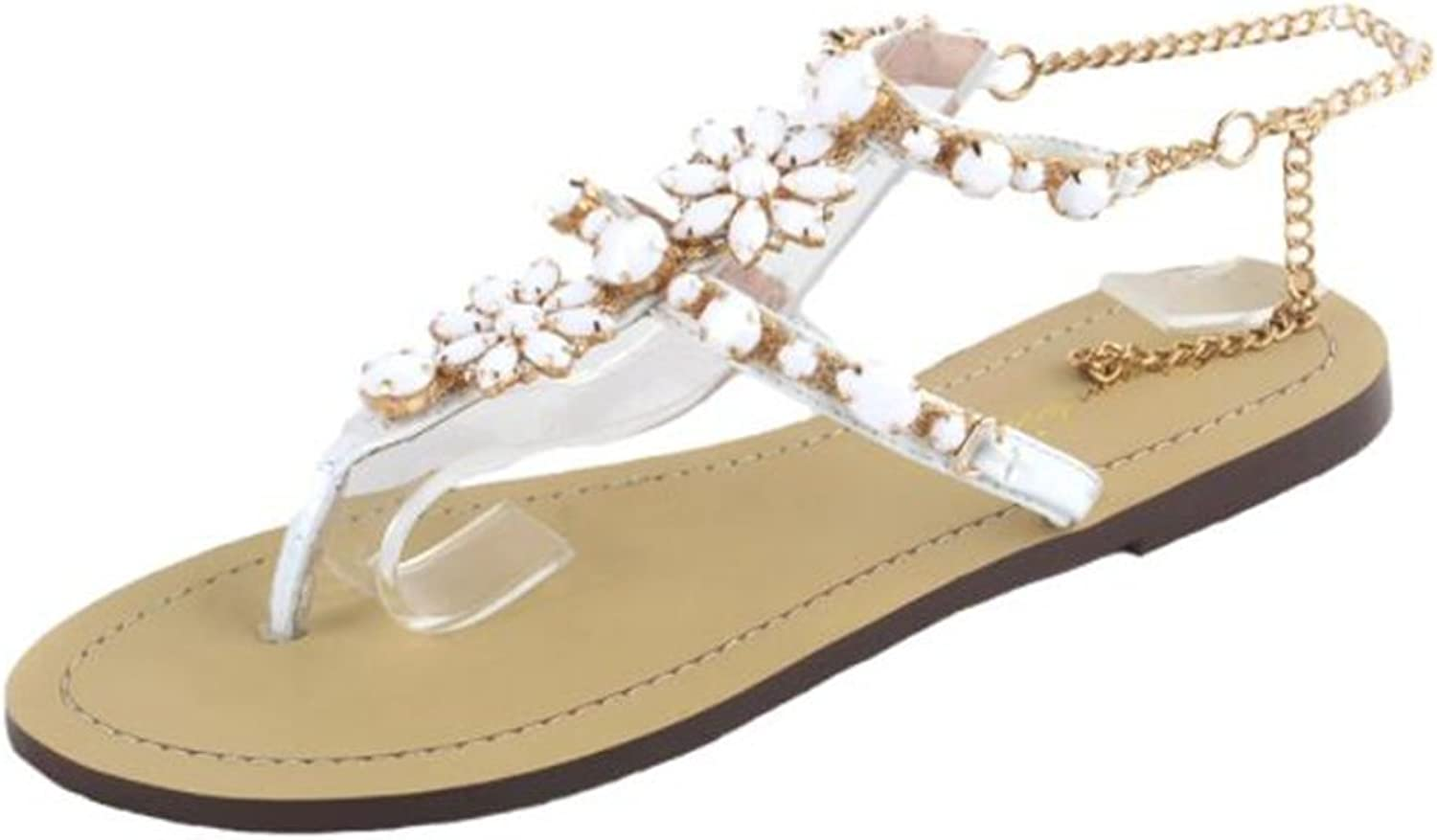 Summer Europe America Diamond Flat Roman Sandals,White,36