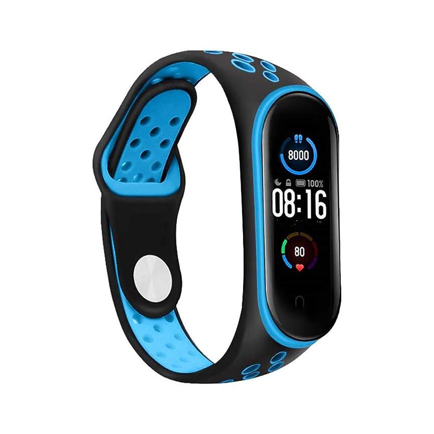 維持主流金属対応 Xiaomi Mi Band 3/Mi Band 4 スポーツループバンド スマート腕時計のストラップ 軽量通気性 シリカゲル バンド スポーツリストバンドバンド 腕時計のバンド 腕時計運動ベルト