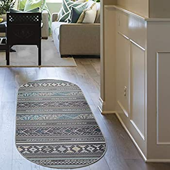 Antep Rugs Alfombras Non-Skid  Non-Slip  2x5 Rubber Backing Moroccan Geometric Low Profile Pile Kitchen Area Rugs  Gray 2  x 5  Oval