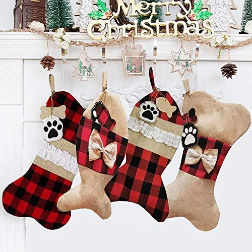 N/G Pet Dog Christmas Stockings Fish Shape Christmas Stockings Dog Paw Bone Shape Christmas Stockings and Fish Christmas Stockings Gift Candy Bag Burlap Plaid for Christmas Decorations (4PCS)