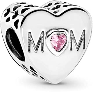 Mother Heart Charm, Sterling Silver, Pink Cubic Zirconia, One Size