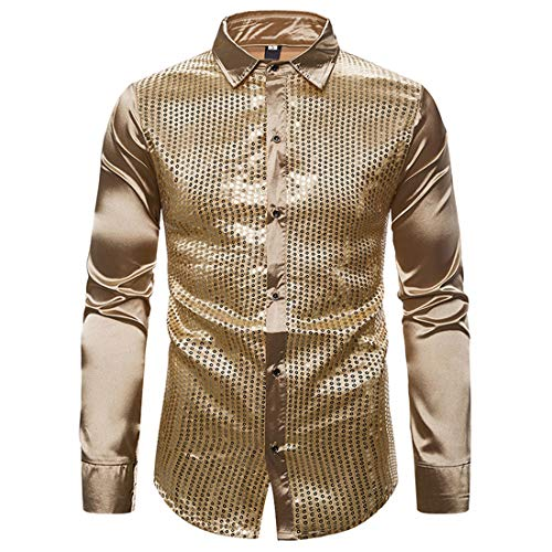 Men's Shirts Tops Mens Classic Sequins Bling Shirt Long Sleeve New Spring Autumn Comfy Shirts Slim Fit Button Lapel Shirt Casual Shirt Fashion Shirt Wedding Party Prom S