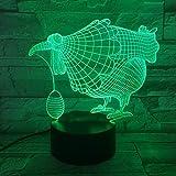 Lámpara de mesa 3D regalo de juguete para niños ilusión huevos de gallina coloridos LED luz nocturna grabados artesanías de acrílico niños