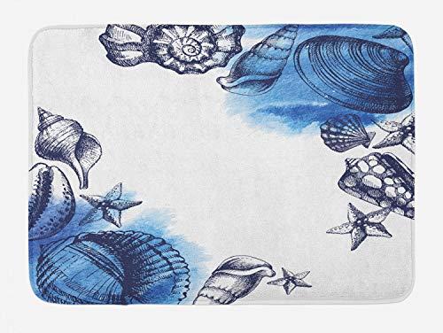 Ambesonne Ocean Bath Mat, Sealife Sea Shells and Sand Stones Deep Water Star Fish Blue Toned Design, Plush Bathroom Decor Mat with Non Slip Backing, 29.5' X 17.5', Navy Blue