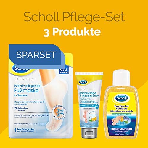 Scholl Pflege Mix 3er bestehend aus Scholl Intensiv pflegende Fußmaske + Scholl Reichhaltige und vitalisierende Fußcreme 75ml + Scholl FussPflege Bad Vital 275g