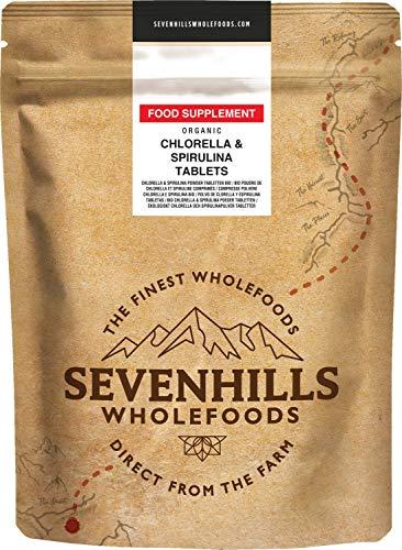 Sevenhills Wholefoods Organic Chlorella & Spirulina Tablets 500mg, Pack of 360, 180g