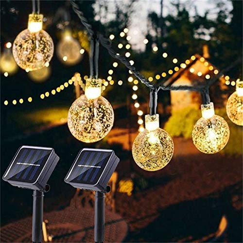 Solar Globe String Lights 2 Pack 30 LED 19.8ft Outdoor Crystal Ball Christmas Decoration Light Waterproof Solar Patio Lights Decor for Xmas Tree Garden Home Wedding Party(Warm White)