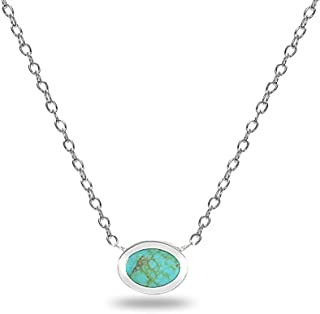 Sterling Silver Polished Inlay Oval Minimalist Dainty Necklace for Women Girls, Choice of 3