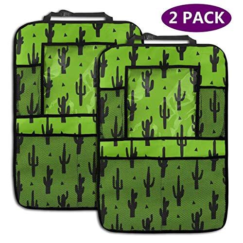Sac de rangement pour organisateur de siège arrière Cactus Pattern Personalized Backseat Car Organizer, Kick Mats Car Back Seat Protector for Toys Book Bottle Drinks Travel Accessories, 2 Pack