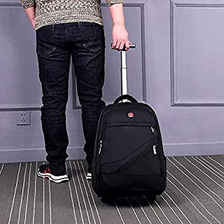 XSB 18 inch Pull Rod Double Shoulders School Bag Book Backpack Business Travel Box Bag (Black) (Color : Black)
