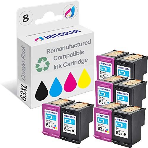 HOTCOLOR 8PK Ink Cartridge #63XL 63 XL F6U64AN HF6U63AN Compatible with HP Envy 4520 4512 4516 Officejet 4650 3830 3833 4655 Deskjet 1112 2130 2131 3630 3633 3634 (4 Black, 4 Color)