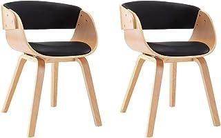 vidaXL 2X Sillas de Comedor Madera y Cuero Sintético Decoración Mobiliario Casa Cocina Salón Sala Sofás Sillones Asientos Muebles Estilo Diseño Negro