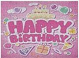Puzzle di compleanno per bambini risparmiatore 500 pezzi, cartone animato sembra festa immagine palloncini scatole nuvole torta celebrazione immagine stampa, rosa pallido