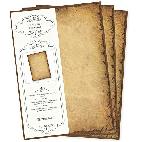 100 Blatt Briefpapier Altes Papier Vintage Alt Casanova Mittelalterliches Briefpapier DIN A4 Beidseitig