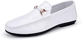LFSP Black Classic Oxford Shoes Modern Wide Flats Driving Loafer for Men Boat Moccasins Slip Ons PU Leather Metal Decor Crocodile Texture Solid Color (Color : White, Size : 41 EU)