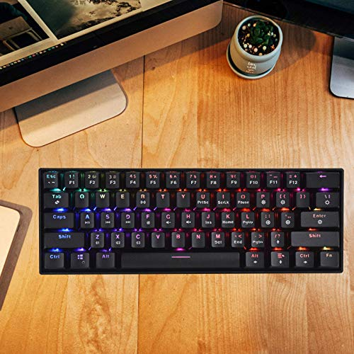 HZGAMER Wireless 60% Mechanical Gaming Keyboard with RGB Backlit, 61 Keys Ultra-Compact Office Computer Keyboard for Multi-Device PC Laptop iPhone Android Mobile - Blue Switch