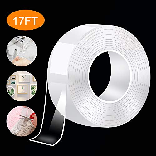 Nano Double Sided Tape Heavy Duty - Multipurpose Traceless Removable Mounting Tape for Walls?Washable Clear Strong Sticky Adhesive Strips Gel Grip Tape, Carpet Mat Poster Tape for Home Office(17FT)