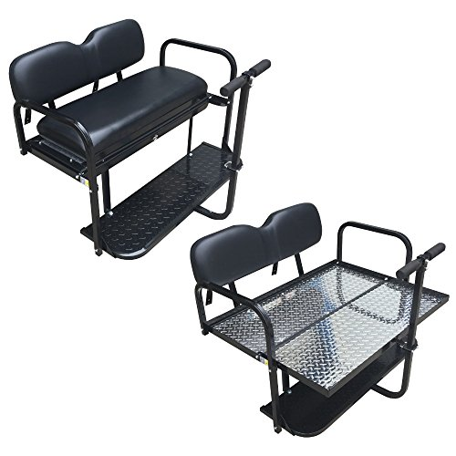 Performance Plus Carts Club Car Precedent Golf Cart Rear Flip Back Seat Kit - Factory Black