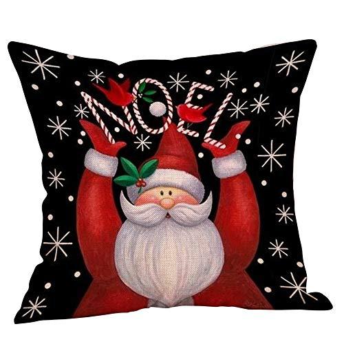 Fossrn Fundas Cojines de Navidad Patrón de Papa Noel Christmas Funda de Cojines 45x45 Navidad Decoracion para...