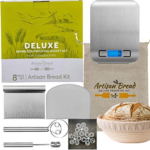 Duzzani Banneton Bread Proofing Basket Set - Includes Digital Scale, Bread Lame, Dough Whisk, Table Scraper, Bowl Scraper, Bread Bag, 16 Stencil Designs - Rattan Basket for Bread Baking Kit