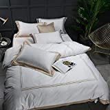 Duvet Cover White Luxury 100% Egyptian Cotton Bedding Sets Full Queen King Size Duvet Cover Bed/Flat Sheet Fitted Sheet Set Pil 5-Star Hotel 3 Pcs T
