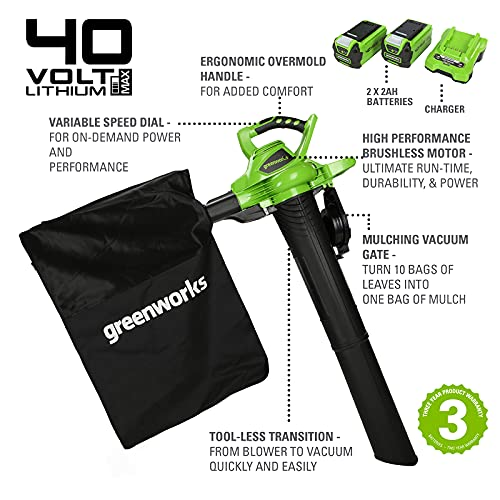 Greenworks Cordless Vacuum Cleaner and Leaf Blower 2in1 GD40BVK2X (Li-Ion 40 V 185 km/h Air Speed 45l Collection Bag Variable Speed Regulation Brushless Motor incl. 2 Batteries 2 Ah and Charger)