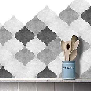 Prior.choice 10 Pcs Grey Concrete Design Lantern Self-Adhesive Peel and Stick Non-Slip Waterproof Removable PVC Bathroom Kitchen Home Decor Floor Wall Tile Sticker