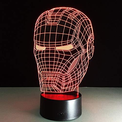FFYYJJLEI Marvel Avengers Decoración Lámpara 3D Art Iron Man Máscara Luz De La Noche Superhéroe Lampe Para Niños Amigos Dormitorio Decoración