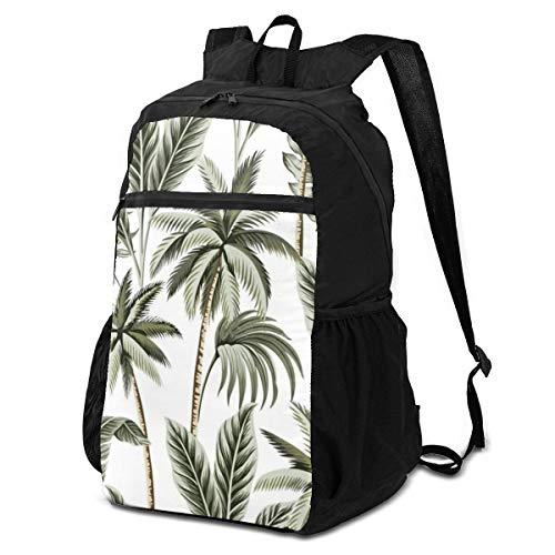 Zaino da viaggio per escursioni, elegante, perfettamente tropicale, retrò, con palme hawaiane, banana, da viaggio, zaino ripiegabile, leggero, impermeabile, per uomini e donne, campeggio all'aperto