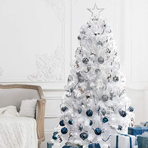 7ft Artificial White Christmas Tree with Ornaments and Lights