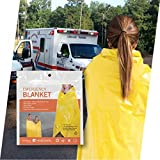 HEATSHEETS First Responders Emergency Blankets - 56' x 84', High Visibility Yellow, 1.25mil metalized Film, Fan Folded Package