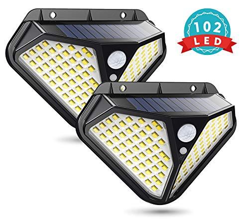 Solarlampen für Außen mit Bewegungsmelder, Cocoda Kompakte Solarleuchten für Außen mit 102 LEDs, 270° Beleuchtungswinkel, 3 Modi, IP65 Wasserdicht, 2200mAh Solarleuchte Garten Wandleuchte [2 Stück]