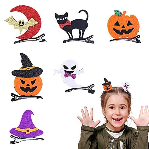 6 Pz Clips de Pelo Halloween Niña Accesorios Cabello de Halloween Pinza Cabello Linda Decoracións Sombrero Bruja Gato...