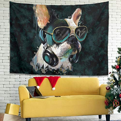 Fzsdcyykic Tapestry French Bulldog Sunglasses Watercolor Tapestries Art Decoration for Room White 91x59 inch