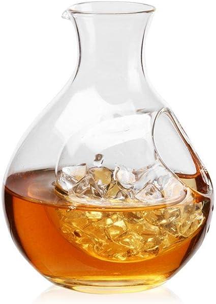 Decantador de whisky con bolsillo de hielo, pequeño decantador de vino de bolsillo de hielo transparente jarra de vidrio para licor, whisky, ron, ...