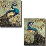 Artistic Home Gallery Peacock on Sage I & II by Tiffany Hakimpour 2-pc Premium Stretched Canvas Set (Ready-to-Hang)