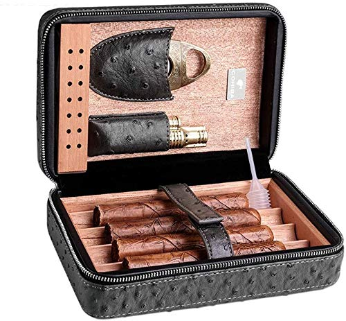 AXZHYZ Personality Aesthetic Ashtray Cigar 4 Cigars Cigars Portable Travel humidor Best Gift Having a Good Sealing Household Large Capacity, Ashtray Decoration (Color : Brown, Size : 71320.5cm)