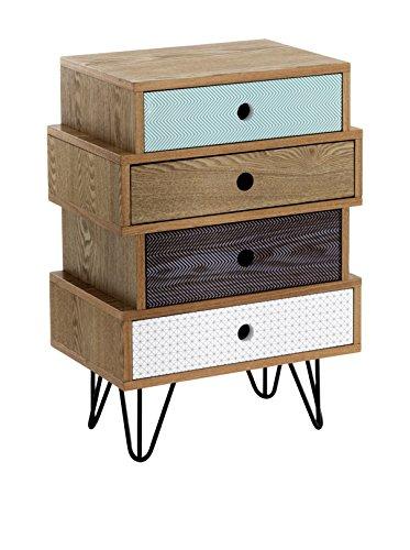 Wink design, Odense, Cassettiera 4 Cassetti, Legno, Multicolore, 65 x 45 x 30 cm
