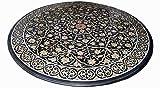 Mesa de comedor redonda de mármol negro con incrustaciones de trapeador, sofá de aspecto lujoso para sala de estar, 100 cm