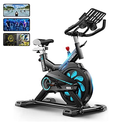 Bicicletas estáticas profesionales para interiores, bicicleta estática, prueba de frecuencia cardíaca, con pantalla de medidor electrónico: velocidad, tiempo, calorías, ejercicio cardiovascular