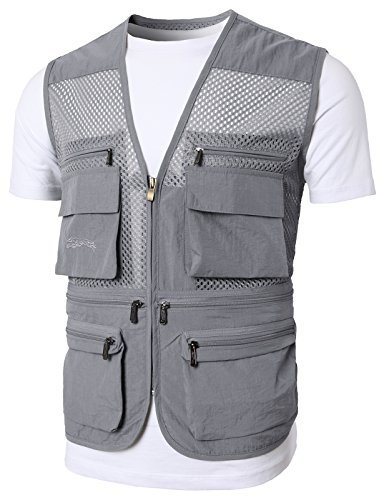 H2H Mens Casual Work Utility Hunting Travels Sports Vest with Multiple Pockets Charcoal US M/Asia L (KMOV0149)