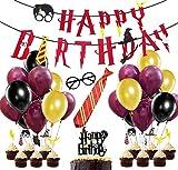 58 Piezas Suministros para la Fiesta de Harry Potter, Estandarte de cumpleaños, Rojo Vino...